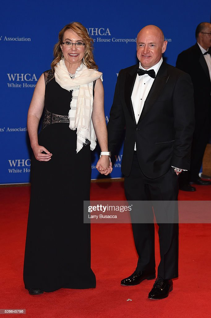 Former Congresswoman Gabrielle Giffords (L) and former NASA astronaut Mark Kelly attend the 102nd White House Correspondents' Association Dinner on April 30, 2016 in Washington, DC.