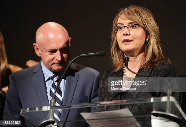 Former Congresswoman Gabrielle Giffords joined by husband Captain Mark Kelly speaks at the 'Not One More' Event at Urban Zen on February 10 2015 in...