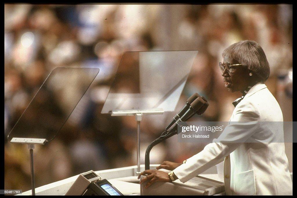 Former Congresswoman Shirley Chisholm addressing Dem. Natl. Convention.
