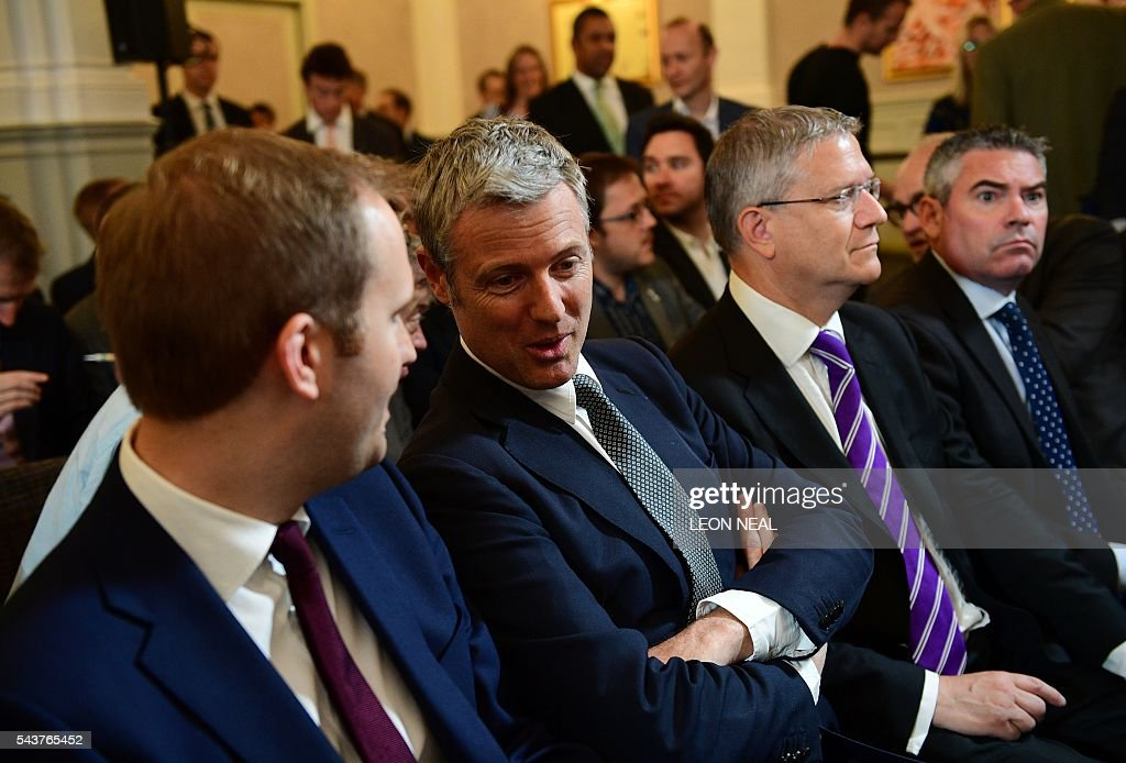 Former Conservative London Mayoral candidate Zac Goldsmith (2nd L) waits for the arrival of former London mayor Boris Johnson to address a press conference in London on June 30, 2016. Leading Brexit campaigner and Justice Minister Michael Gove on Thursday announced a surprise bid to succeed David Cameron as British prime minister, launching a sensational attack on referendum ally Boris Johnson, who is also expected to run. / AFP / LEON