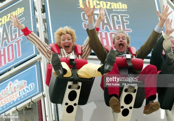 Former conservative MP Neil Hamilton and his wife Christine on the Lucozade Space Shot at Pleasureland Park Southport Merseyside Neil and Christine...