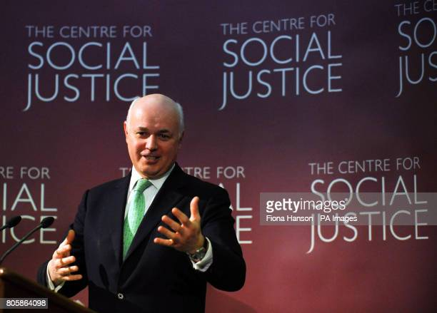 Former Conservative Party leader Iain Duncan Smith launches the Centre for Social Justice's work programme of policy recommendations covering elder...