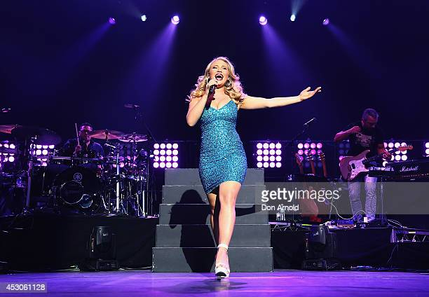 Former contestant on The Voice and 2014 series winner Anja Nissen performs on stage at Qantas Credit Union Arena on August 2 2014 in Sydney Australia