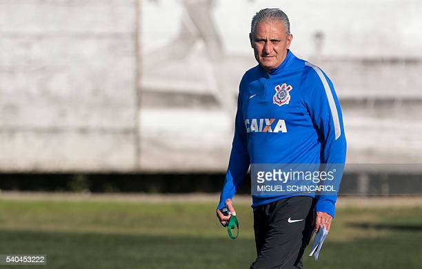 Former Corinthians coach Adenor Leonardo Bacchi known as Tite participates in a training session at the team headquarters in Sao Paulo Brazil 15 June...