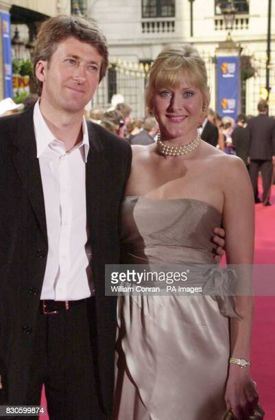 Former Coronation Street barmaid Sarah Lancashire arriving in a strapless gold gown with her partner Peter Salmon BBC director of sport at the...