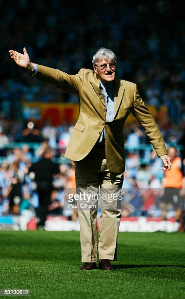 Former Coventry City manager and chairman Jimmy Hill on the pitch prior to the CocaCola Championship match between Coventry City and Derby County at...