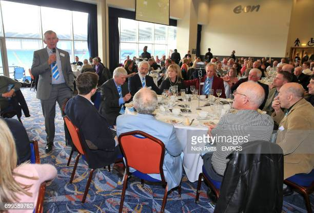 Former Coventry City player Bill Glazier speaks to guests during lunch