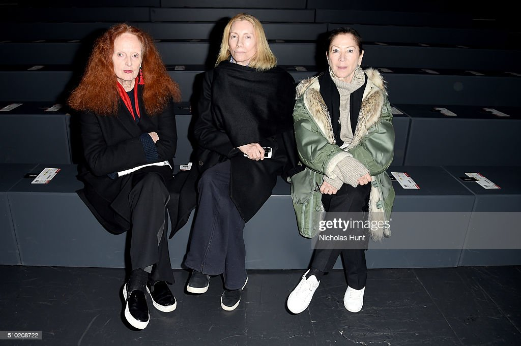 Former creative director of Vogue <a gi-track='captionPersonalityLinkClicked' href=/galleries/search?phrase=Grace+Coddington&family=editorial&specificpeople=1706831 ng-click='$event.stopPropagation()'>Grace Coddington</a>, Vogue fashion director Tonne Goodman, and Vogue Executive Fashion Editor Phyllis Posnick attend the Hood By Air Fall 2016 fashion show during New York Fashion Week: The Shows at The Arc, Skylight at Moynihan Station on February 14, 2016 in New York City.