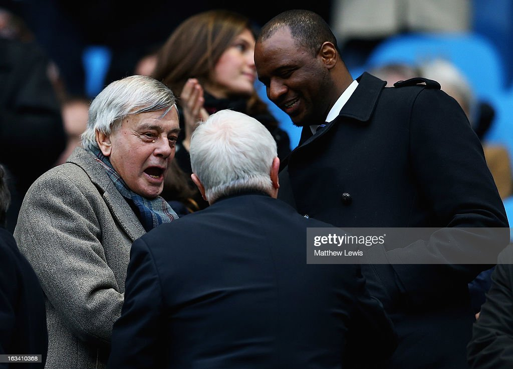 Former cricket umpire Dickie Bird, meets Patrick Viera during the FA Cup sponsored by Budweiser Sixth Round match between Manchester City and Barnsley at Etihad Stadium on March 9, 2013 in Manchester, England.
