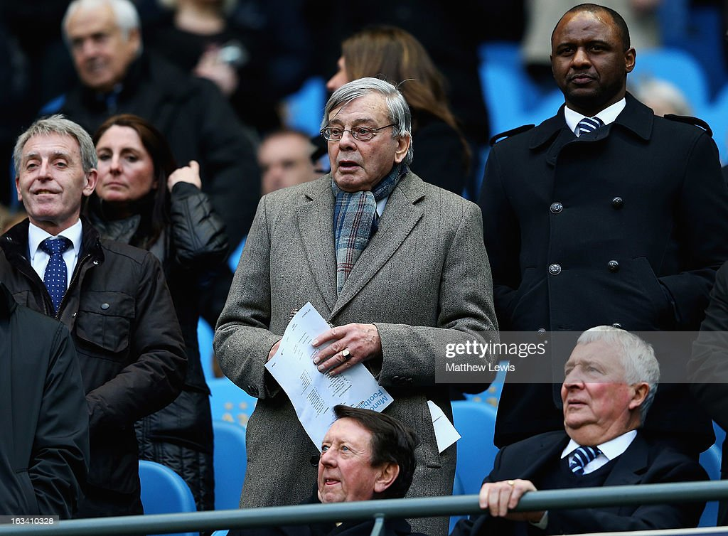 Former cricket umpire Dickie Bird, watches from the stands during the FA Cup sponsored by Budweiser Sixth Round match between Manchester City and Barnsley at Etihad Stadium on March 9, 2013 in Manchester, England.