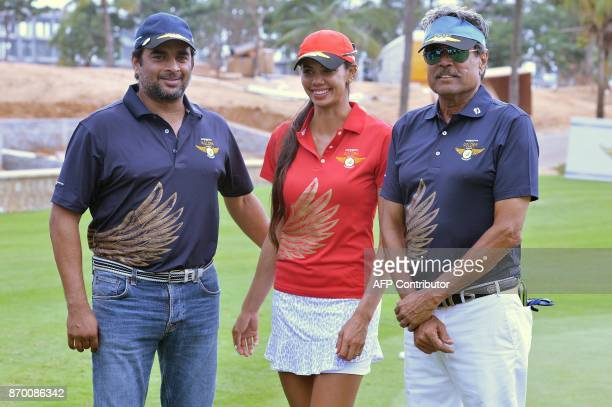 Former cricketer and golfer Kapil Dev Indian Women's Golf Champion Sharmila Nicollet and Bollywood actor and golfer R Madhavan pose for a photograph...