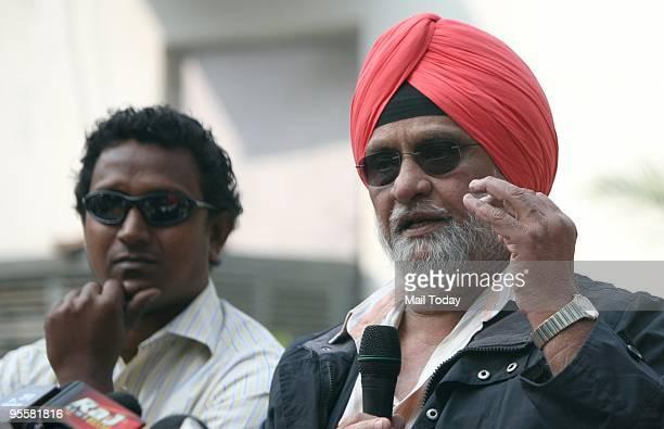 Former cricketer Bishen Singh Bedi addressing a press conference regarding Ferozshah Kotla's pitch fiasco in New Delhi on Thursday December 31 2009