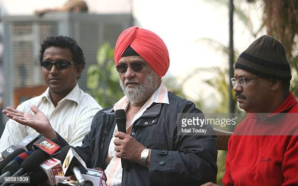 Former cricketer Bishen Singh Bedi along with Kirti Azad addressing a press conference regarding Ferozshah Kotla's pitch fiasco in New Delhi on...