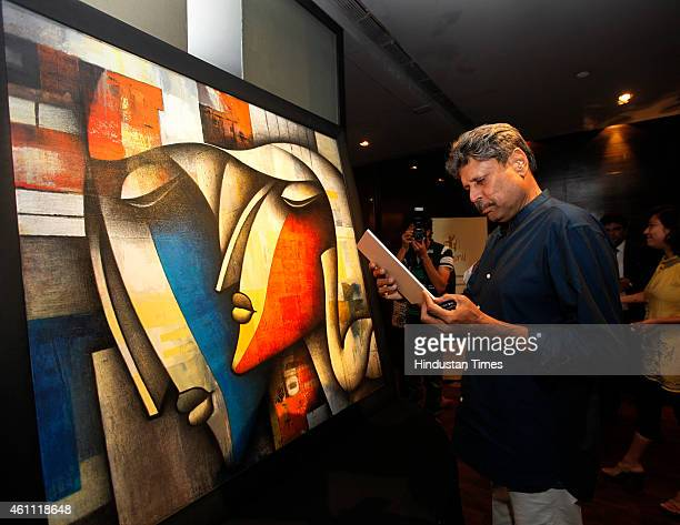 Former cricketer Kapil Dev at preview of Paintings Auction to raise fund for NGO Kushi on January 6 2015 in Mumbai India Many prominent personalities...