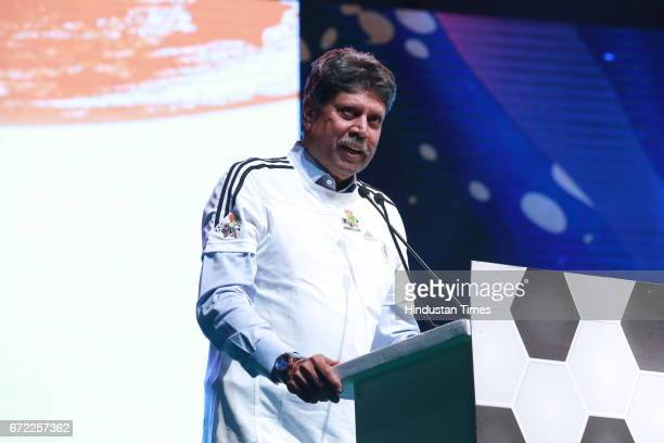 Former cricketer Kapil Dev during the launch of Oorja by CAFP U19 Football Talent Tournament at India Gate on April 20 2017 in New Delhi India The...