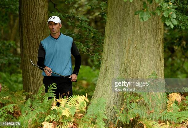 Former cricketer Nasser Hussain in action during the proam event prior to the British Masters at Woburn Golf Club on October 7 2015 in Woburn England