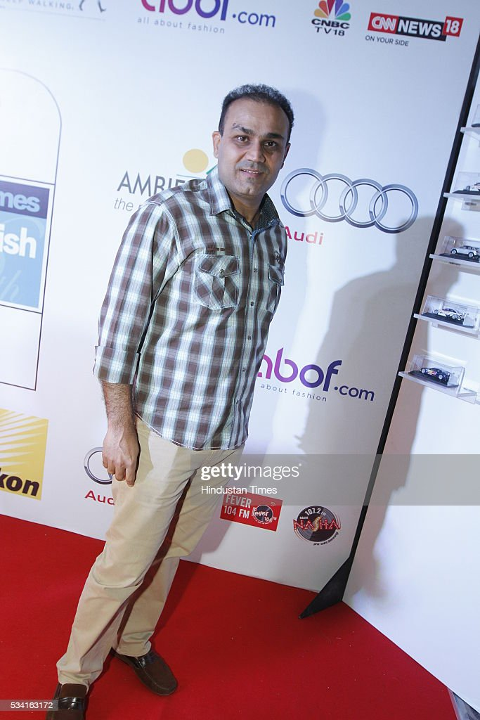 Former cricketer Virender Sehwag arriving at red carpet for Hindustan Times Most Stylish Awards 2016 at hotel JW Marriot, Aerocity on May 24, 2016 in New Delhi, India.
