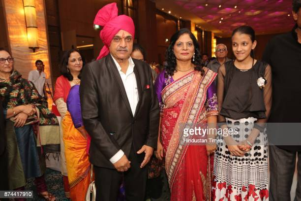 Former Cricketer Yashpal Sharma with his wife Renu Sharma during the wedding reception party of their daughter Preeti Sharma and Vaibhav Tyagi at The...