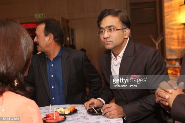 Former Cricketers Madan Lal and Saba Karim during the wedding reception party of Cricketer Yashpal Sharma's daughter Preeti Sharma and Vaibhav Tyagi...