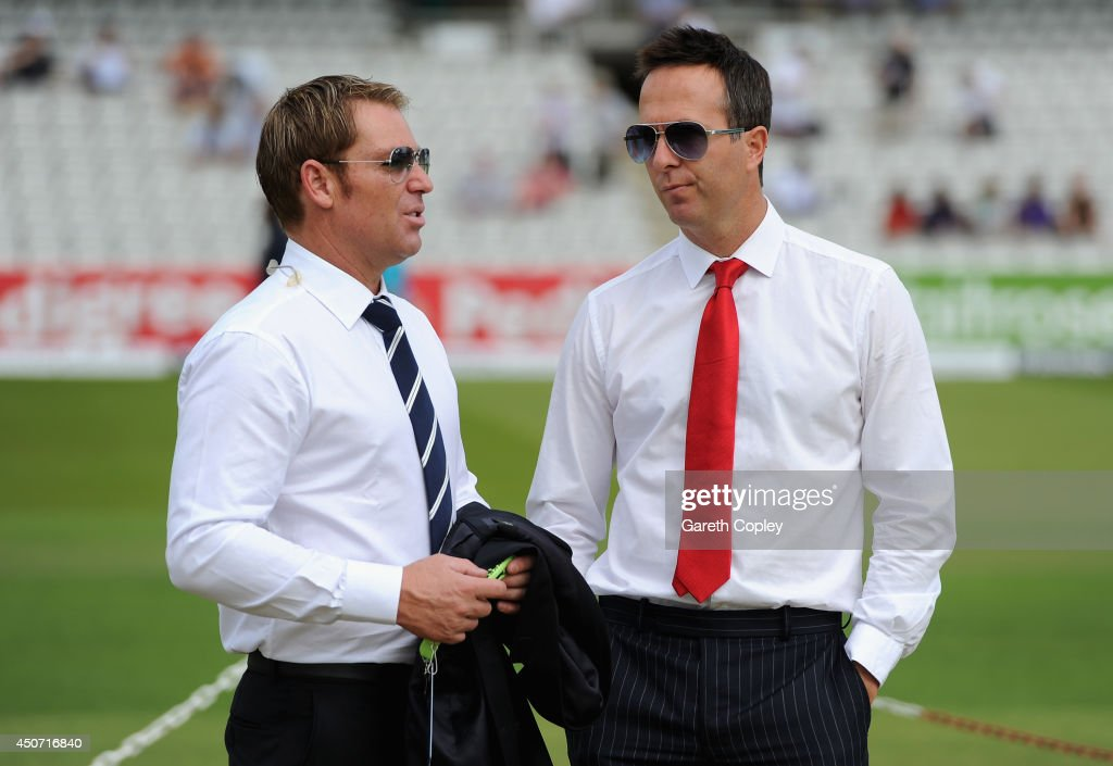 LONDON ENGLAND June 12 Former cricketers Shane Warne and Michael Vaughan chat during day one of 1st Investec Test match between England and Sri Lanka...