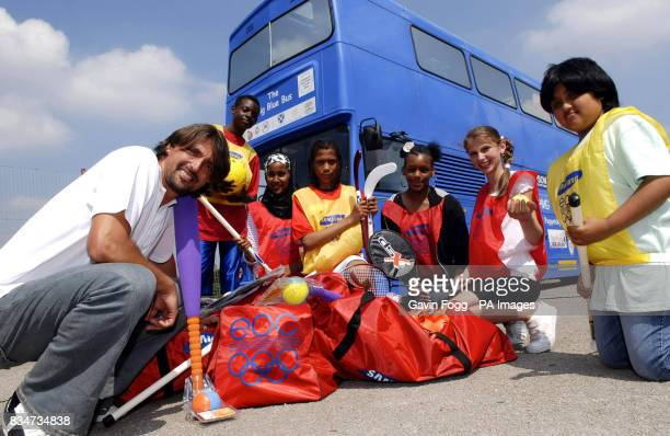 Former Croatian tennis star Goran Ivanisevic with Sdhaquille Hoodo Shqipinja 11 Tia 15 Kristien 14 and Kirandeep from St Albans church of England...