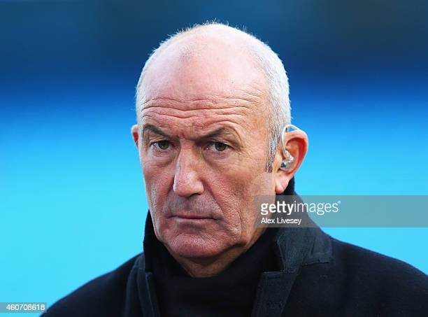 Former Crystal Palace manager Tony Pulis looks on prior to the Barclays Premier League match between Manchester City and Crystal Palace at Etihad...