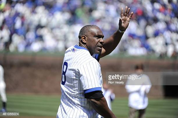 Former Cub Andre Dawson waves to the fans during pregame ceremonies prior to the game between the Chicago Cubs and Arizona Diamondbacks at Wrigley...