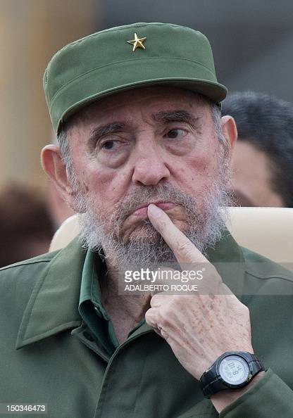 Former Cuban President Fidel Castro attends a meeting for the 50th Anniversary of the Committees of Defense of the Revolution September 28 2010 in...