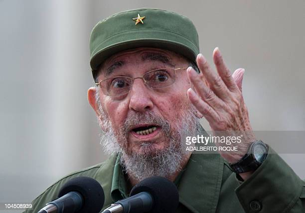Former Cuban President Fidel Castro delivers a speech during the commemoration of the 50th Anniversary of the Committees of Defense of the Revolution...