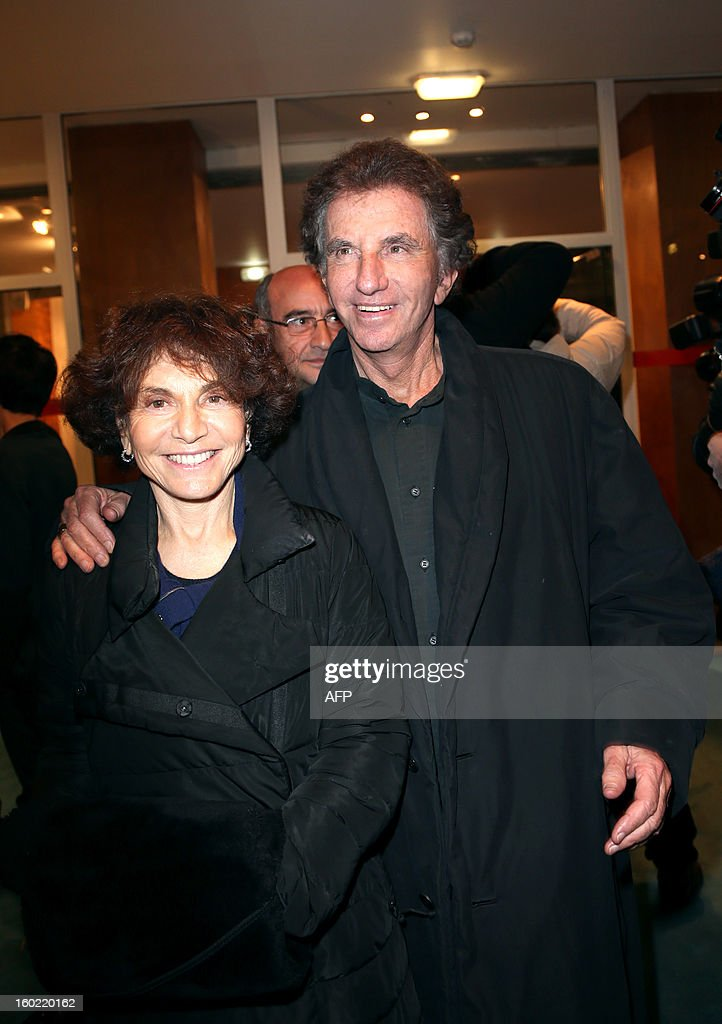 Former Culture minister Jack Lang arrives with his wife Monique for a special event gathering artists and celebrities in support of French government plans to legalise gay marriage and same-sex adoption on January 27, 2013 in Paris, two days before parliament takes up the text, which has been met with strong opposition from the right and the Catholic Church. AFP PHOTO / THOMAS SAMSON