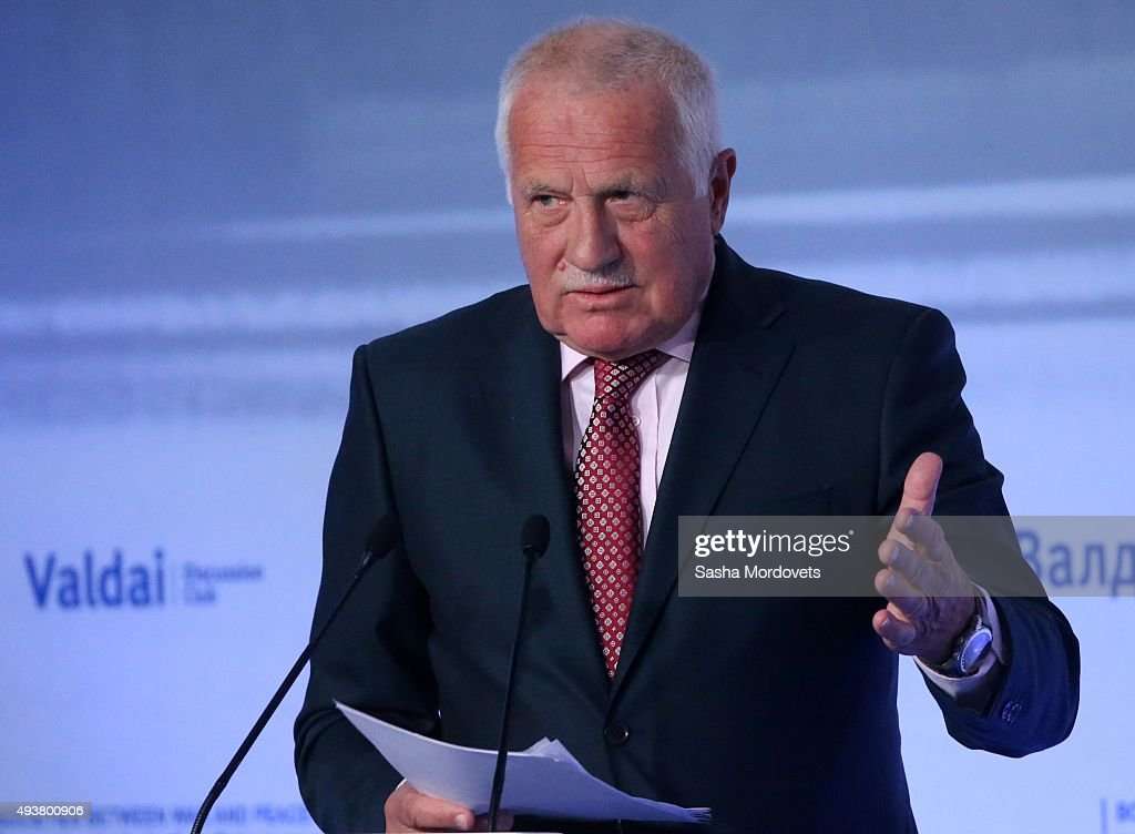 Former Czech President Vaclav Claus speaks during the Valdai International Discussion Club meeting on October 22, 2015 in Sochi. Russian President Putin spoke before annual meeting of the Valdai Club, which brings toghether 130 experts and political scientists from 30 countries.