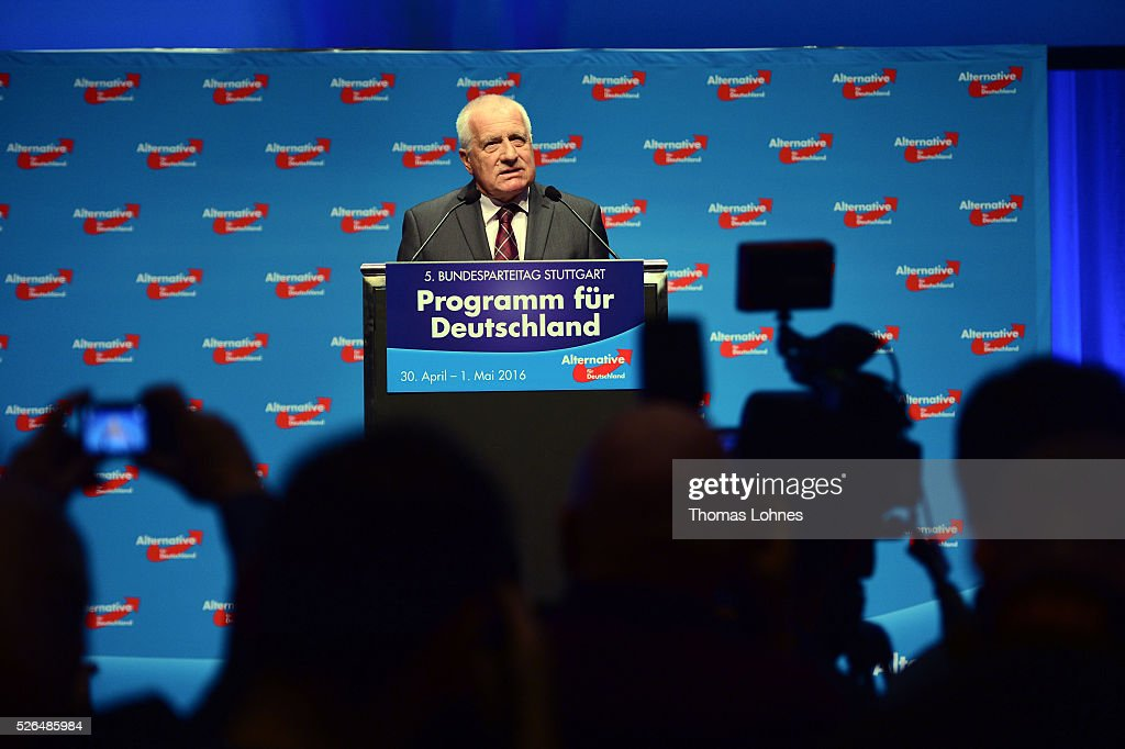 Former Czech President <a gi-track='captionPersonalityLinkClicked' href=/galleries/search?phrase=Vaclav+Klaus&family=editorial&specificpeople=241250 ng-click='$event.stopPropagation()'>Vaclav Klaus</a> speaks at the Alternative for Germany (AfD) federal congress on April 30, 2016 in Stuttgart, Germany. The AfD, a relative newcomer to the German political landscape, has emerged from Euro-sceptic conservatism towards a more right-wing leaning appeal based in large part on opposition to Germany's generous refugees and migrants policy. Since winning seats in March elections in three German state parliaments the party has sharpened its tone, calling for a ban on minarets and claiming that Islam does not belong in Germany.