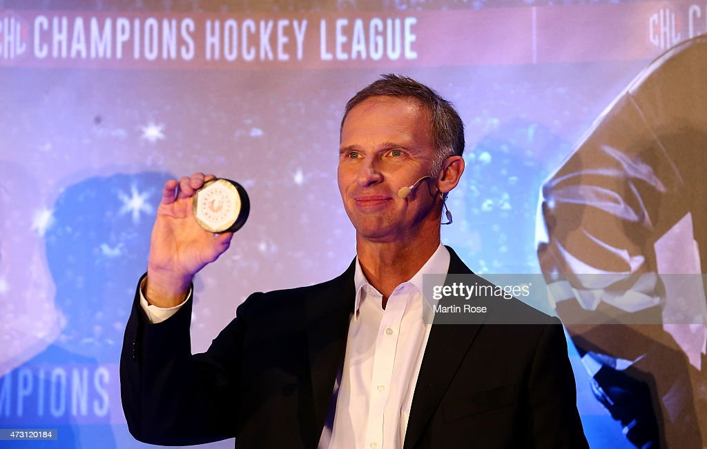 Former Czech Republic Hockey player Dominik Hasek is seen on stage during the draw of the CHL Champions League 201516 season at the o2 Arena on May...