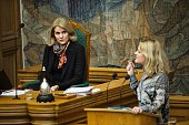 Former Danish Prime minister Helle Thorning Schmidt and Johanne Schmidt Nielsen of the opposition party 'Enhedslisten' attend a debate on on a...