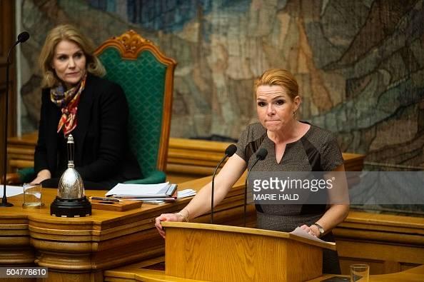 CORRECTION Former Danish Prime Minister Helle ThorningSchmidt and Danish Minister for Immigration Integration and Housing Inger Stojberg attend a...