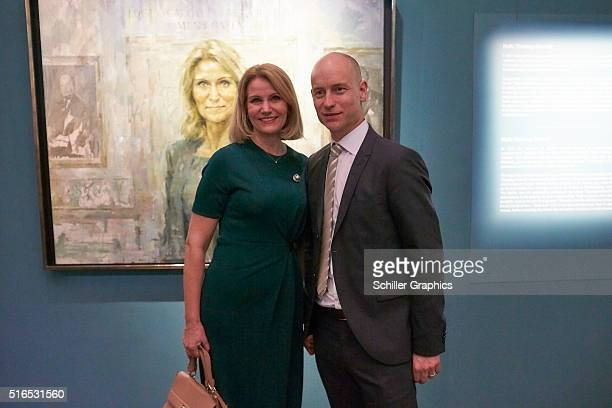 Former Danish Prime Minister Helle ThorningSchmidt and Stephen Kinnock attend the 'Jonathan Yeo Portraits' exhibition opening at the Museum of...