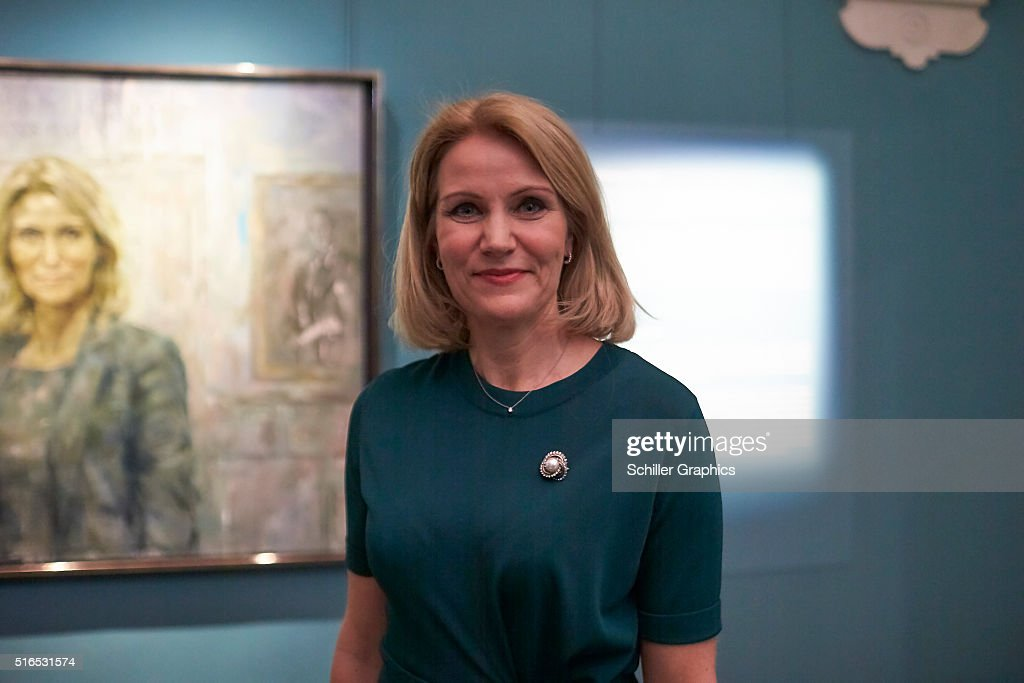 Former Danish Prime Minister Helle ThorningSchmidt attends the 'Jonathan Yeo Portraits' exhibition opening at the Museum of National History at...