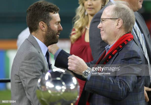 Former DC United president Kevin Payne with team coach Ben Olsen after DC United's final MLS match at RFK Stadium between DC United and the New York...