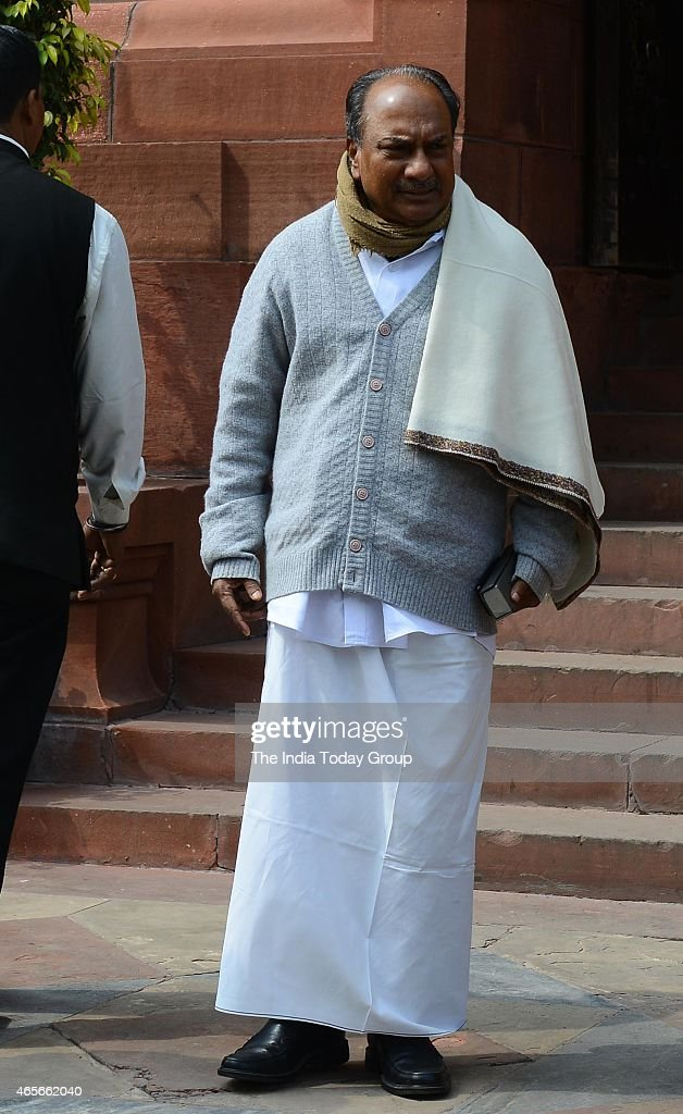 Former Defence Minister AK Antony at Parliament House in New Delhi.