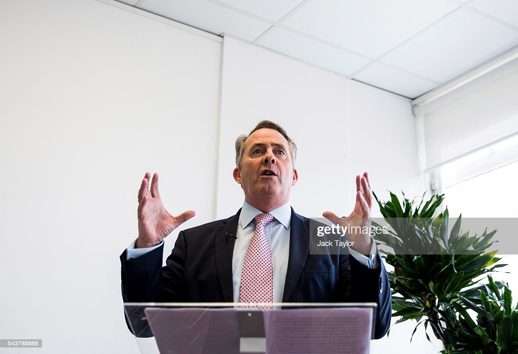 Former Defence Secretary Liam Fox launches his bid to be Leader of the Conservative Party at a press conference in Millbank Tower on June 30, 2016 in London, England. Nominations for MPs to declare their intention to run for the Conservative Party Leadership and therefore British Prime Minister will close by noon today. The current Prime Minister and party leader, David Cameron, announced his resignation the day after the UK voted to leave the European Union.