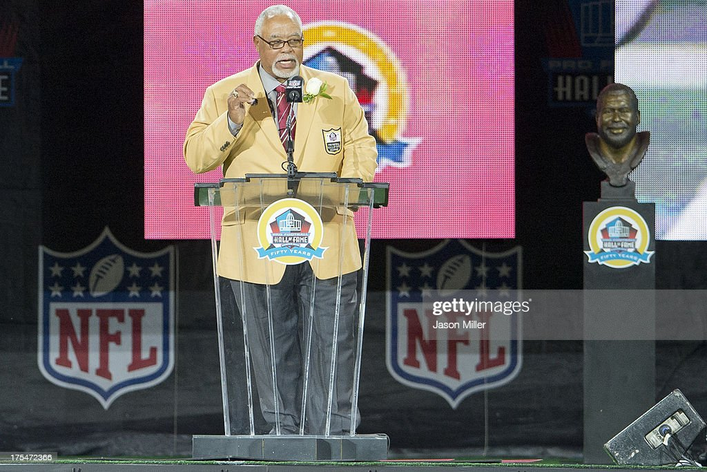 Former defender Curley Culp gives his speech during the NFL Class of 2013 Enshrinement Ceremony at Fawcett Stadium on Aug. 3, 2013 in Canton, Ohio.