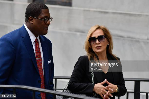 Former defense attorney Angela Agrusa with spokesperson Andrew Wyatt arrive for a pretrial hearing in the sexual assault trial of US actor Bill Cosby...