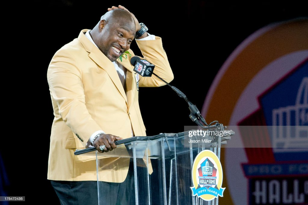 Former defensive tackle Warren Sapp of the Tampa Bay Buccaneers gives his speech during the NFL Class of 2013 Enshrinement Ceremony at Fawcett Stadium on Aug. 3, 2013 in Canton, Ohio.
