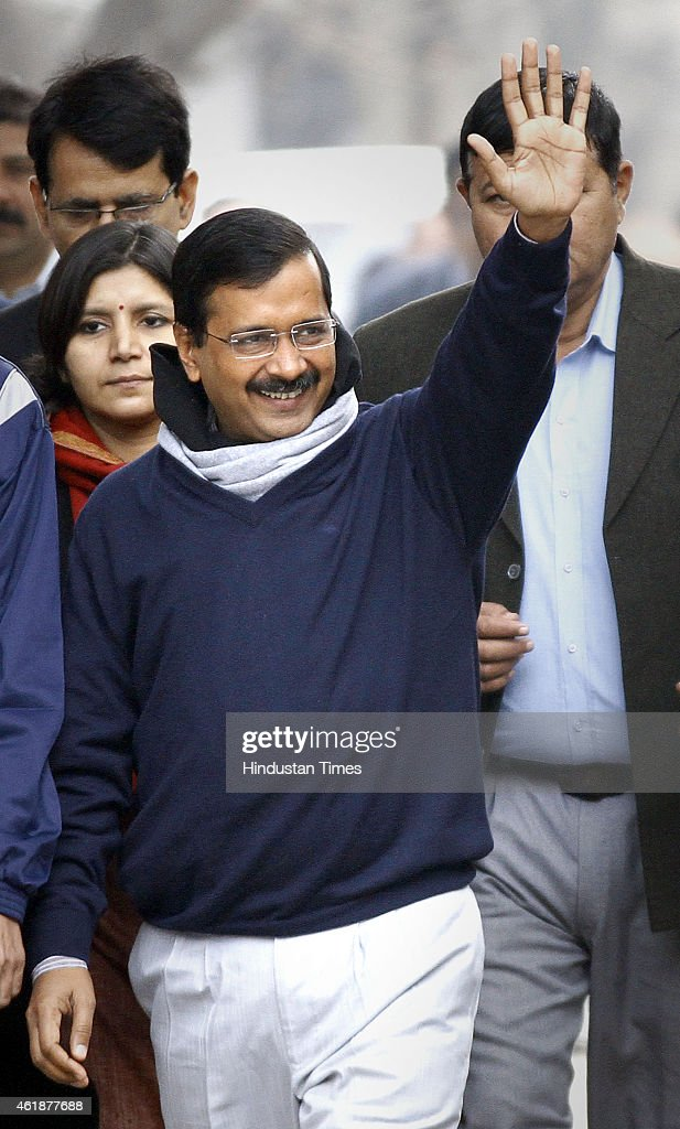 Former Delhi chief minister and AAP candidate from New Delhi constituency, <a gi-track='captionPersonalityLinkClicked' href=/galleries/search?phrase=Arvind+Kejriwal&family=editorial&specificpeople=5980396 ng-click='$event.stopPropagation()'>Arvind Kejriwal</a> arrives at Jamnagar House to file his nomination for the upcoming Delhi Assembly Elections 2015 on January 21, 2015 in New Delhi, India. Polling in Delhi will be held on February 7 and the counting of votes will take place on February 10.