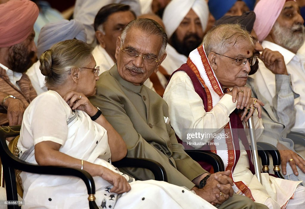 Former Delhi Chief Minister Sheila Dikshit, former Home Minister Shivraj Patil and BJP leader Murli Manohar Joshi during the centenary birth anniversary celebrations of former President late Gyani Zail Singh at Rashtrapati Bhavan on May 5, 2016 in New Delhi, India. Gyani Zail Singh was the seventh President of India, serving from 1982 to 1987. Prior to his presidency, he was a politician with the Indian National Congress party, and had held several ministerial posts in the Union Cabinet, including that of Home Minister.