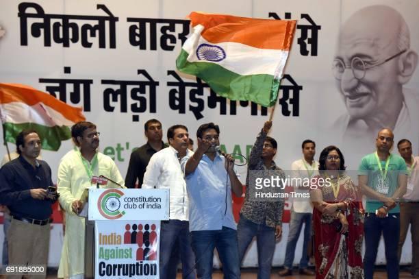Former Delhi Minister Kapil Mishra during the launch of programme 'India Against Corruption2' against Arvind Kejriwal's government at Malvankar Hall...