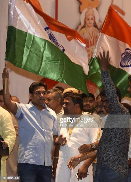 Former Delhi Minister Kapil Mishra holding Indian flag during the launch of programme 'India Against Corruption2' against Arvind Kejriwal's...