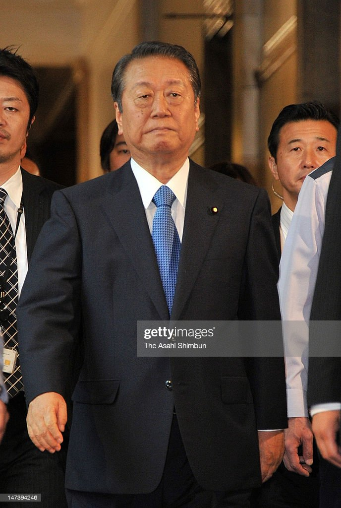 Former Democratic Party of Japan (DPJ) President <a gi-track='captionPersonalityLinkClicked' href=/galleries/search?phrase=Ichiro+Ozawa&family=editorial&specificpeople=680192 ng-click='$event.stopPropagation()'>Ichiro Ozawa</a> walks the corridor after the meeting with DPJ Secretary General Azuma Koshiishi (not pictured) at the diet building on June 28, 2012 in Tokyo, Japan. Ozawa, who voted against the consumption tax hike bill, insisted that the DPJ should drop the bill.