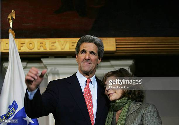 Former Democratic presidential candidate US Senator John Kerry stands on stage with his wife Teresa Heinz Kerry after delivering his concession...