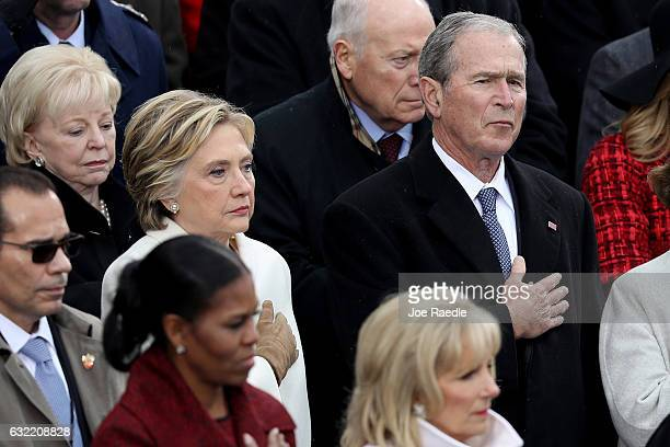 Former Democratic presidential nominee Hillary Clinton and former President George W Bush attend Donald Trump Inauguration on the West Front of the...